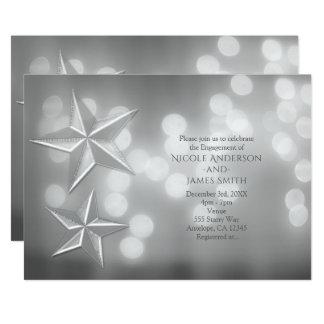 Silberne Sterne u. elegante Bokeh Licht-Verlobung Karte