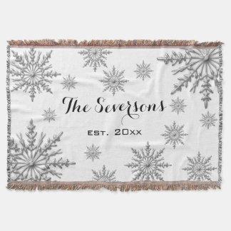 Silberne Ton-Winter-Schneeflocken auf Weiß Decke