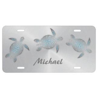 Silberne Türkis-Meeresschildkröten personifizieren US Nummernschild
