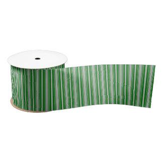 Silberne und grüne Weihnachtsstreifen Satinband