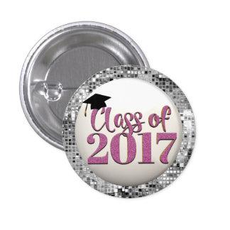 Silberne und rosa Klasse von Abschluss-Knopf 2017 Runder Button 2,5 Cm