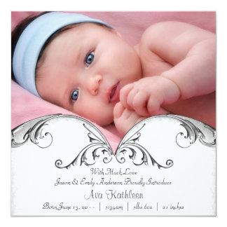 Silberne weiße Baby-Mädchen-Foto-Geburts-Mitteilun Personalisierte Ankündigungen