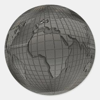 Silberne Weltkugel-Aufkleber Runder Aufkleber