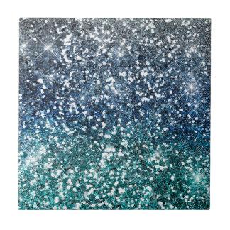 Silberner aquamariner blauer Glitter-Blick Fliese