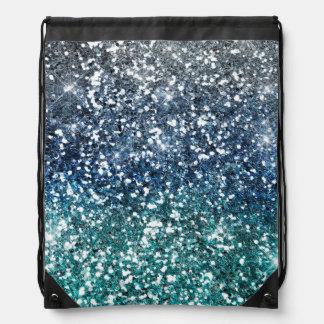 Silberner aquamariner blauer Glitter-Blick Turnbeutel