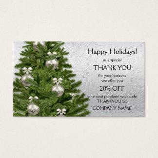 Silberner Baum-Feiertage danken Ihnen Visitenkarte