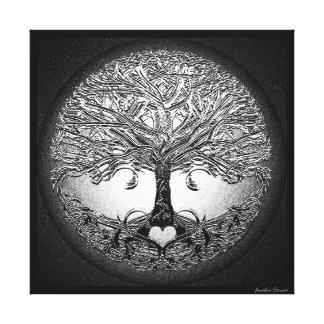Silberner Baum mit Herzen Leinwanddruck