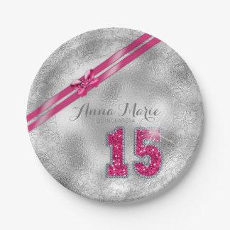 Silberner Brokat-fünfzehntes Geburtstags-Pink Pappteller
