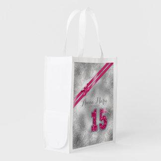 Silberner Brokat-fünfzehntes Geburtstags-Pink Wiederverwendbare Einkaufstasche