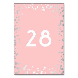 Silberner Confetti-elegante rosa Hochzeit Karte