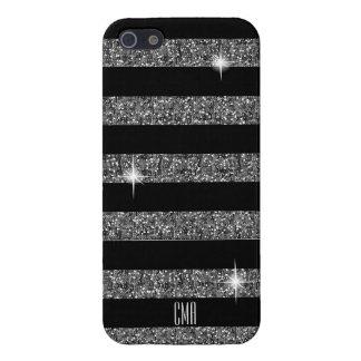 Silberner Confetti-Glitter u. Monogramm der Hülle Fürs iPhone 5