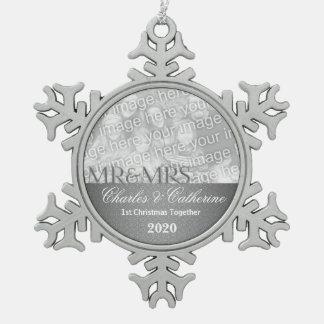 Silberner Damast-1. Weihnachtszusammen Foto Schneeflocken Zinn-Ornament