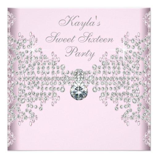 Silberner Diamant-Rosa-Bonbon 16 Geburtstags-Party Einladungskarten