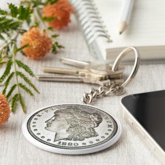 Silberner Dollar-Bild Morgans auf Keychain Schlüsselanhänger