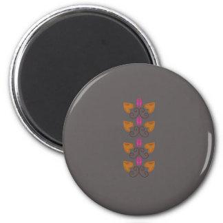 Silberner Elementholz-Deko Runder Magnet 5,1 Cm