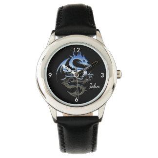 Silberner Feuer-Drache Armbanduhr