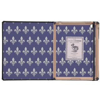 Silberner Fleur de Lys Floral blauer iPad DODOcase iPad Hülle