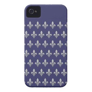 Silberner Fleur de Lys Königsblau iPhone 4 Fall iPhone 4 Etuis