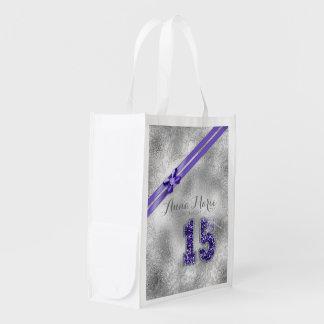Silberner Geburtstag lila ID382 des Wiederverwendbare Einkaufstasche