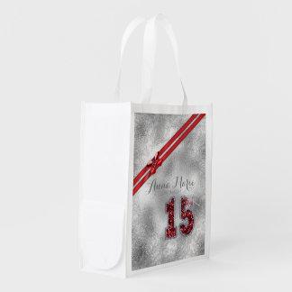 Silberner Geburtstag rotes ID382 des Wiederverwendbare Einkaufstasche