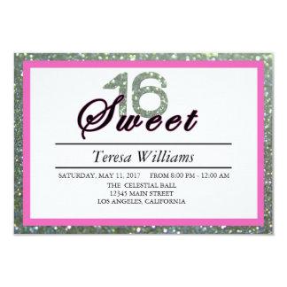 Silberner Glitter-Bonbon 16 Geburtstags-Party 8,9 X 12,7 Cm Einladungskarte