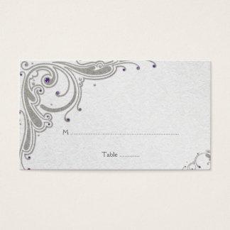 Silberner Glitter-Wirbel + lila Juwel-Platzkarte Visitenkarte