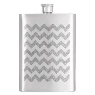 Silberner Glitter-Zickzack Stripes Zickzack Muster Flachmann