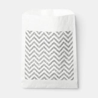 Silberner Glitter-Zickzack Stripes Zickzack Muster Geschenktütchen