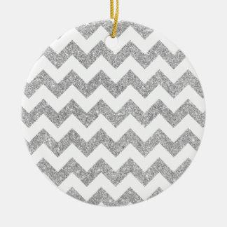 Silberner Glitter-Zickzack Stripes Zickzack Muster Rundes Keramik Ornament