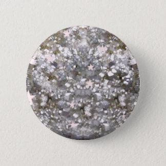 Silberner Glitzern-Glitter und Sternknopf Runder Button 5,1 Cm