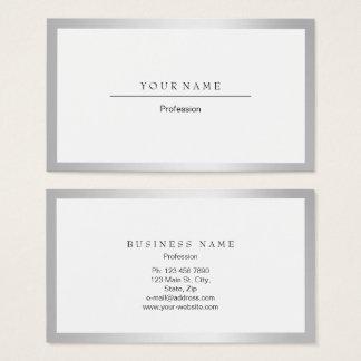 Silberner graues Weiß-Rahmen-minimaler Visitenkarte