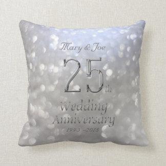 Silberner Hochzeitstag-25. Jahrestag Bokeh Kissen
