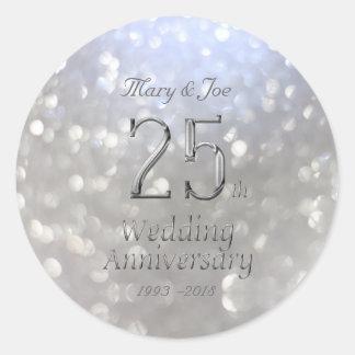 Silberner Hochzeitstag-25. Jahrestag Bokeh Runder Aufkleber