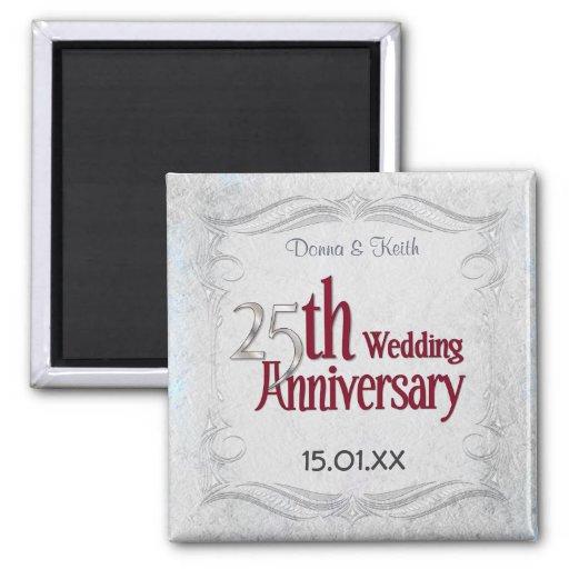 Silberner Jahrestag Quadratischer Magnet