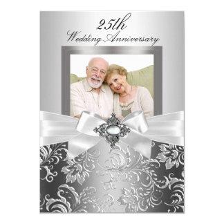 Silberner Juwel-Bogen u. Blumen25. Hochzeitstag 12,7 X 17,8 Cm Einladungskarte