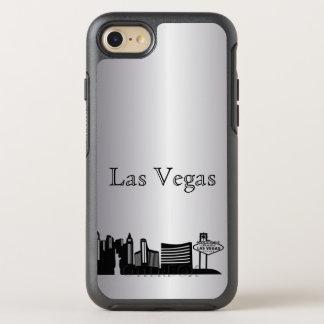 Silberner Las Vegasskyline-Silhouette-Kasten OtterBox Symmetry iPhone 8/7 Hülle