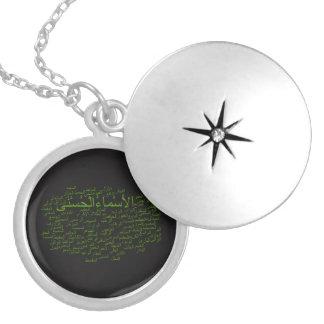 Silberner Locket: 99 Namen von Allah (arabisch) Medaillon