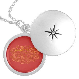 Silberner Locket: 99 Namen von Allah (arabisch) Versilberte Kette