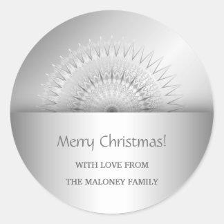Silberner Mandala-Stern-frohe Weihnachten Runder Aufkleber