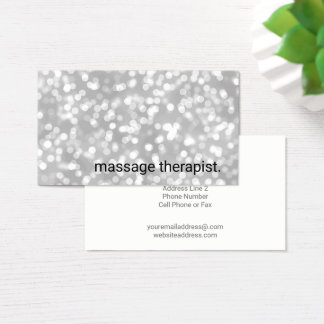Silberner Massage-Therapeut-Wellness-Center Bokeh Visitenkarte
