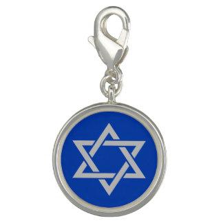 Silberner Mattdavidsstern Israels Auf Blau Charms