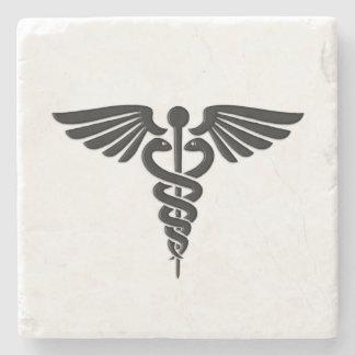 Silberner medizinischer Caduceus Steinuntersetzer