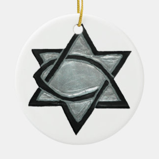 Silberner messianischer Stern Keramik Ornament