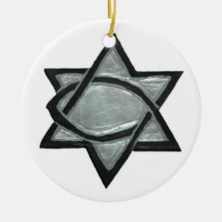 Silberner messianischer Stern Rundes Keramik Ornament
