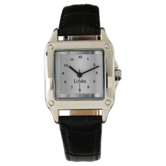 Silberner metallischer Chrom-Entwurf Armbanduhr