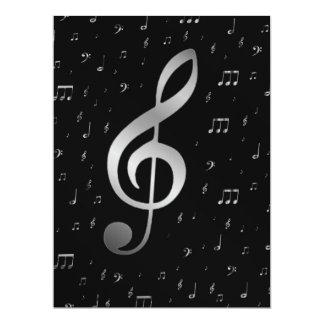 silberner Musiknoten 16,5 X 22,2 Cm Einladungskarte