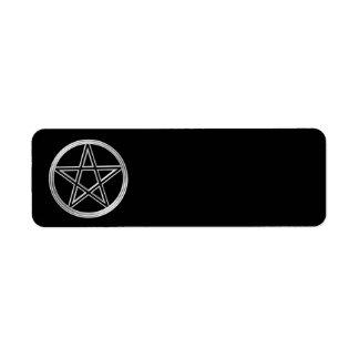 Silberner Pentagram Rückversand-Adressaufkleber