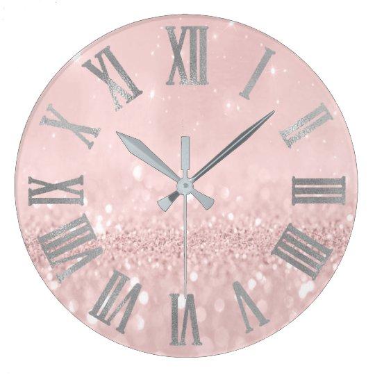 Silberner rosa Glitzer minimales metallisches Große