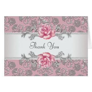 Silberner rosa Rosen-Damast danken Ihnen Karten