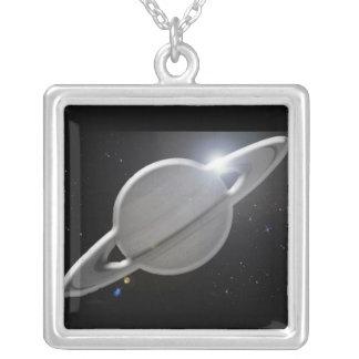 silberner Saturn Versilberte Kette
